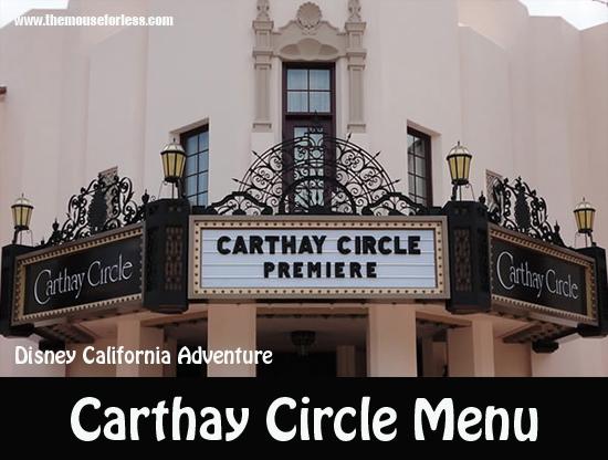 Carthay Circle Restaurant Menu