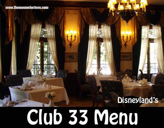 Club 33 Menu