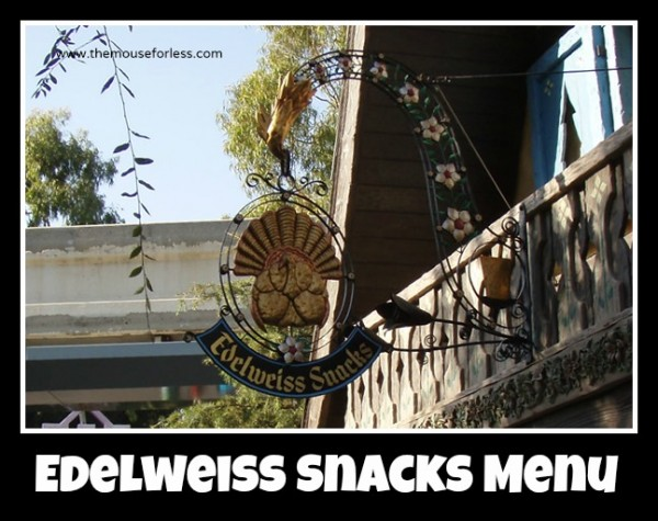Edelweiss Snacks Menu
