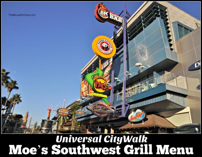 Moe's Southwest Grill Menu Universal CityWalk