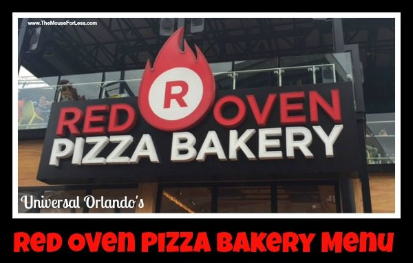 Universal's Red Over Pizza Bakery Menu