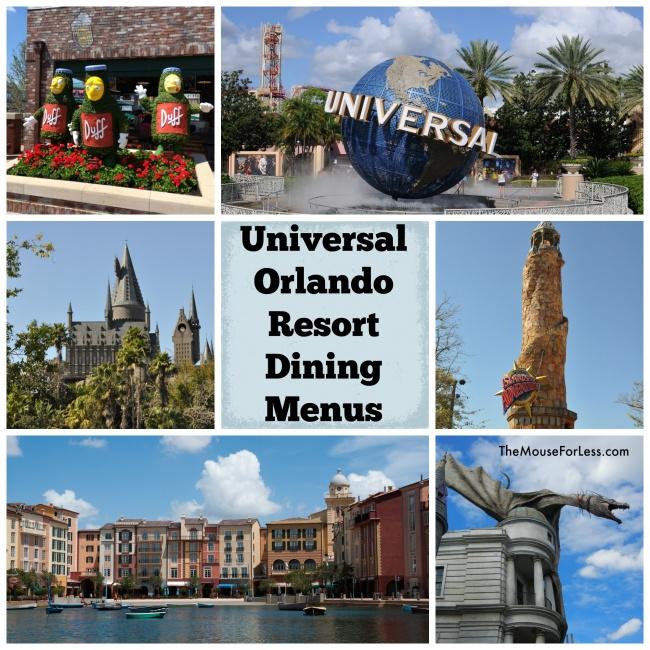 Universal Orlando Dining Menus