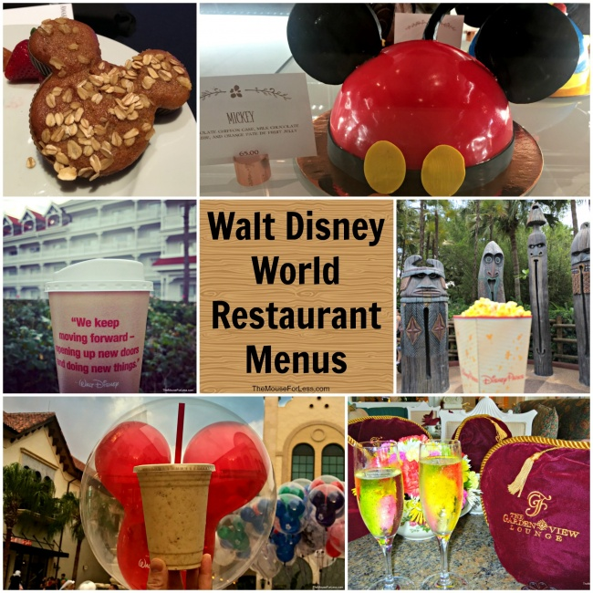 Walt Disney World Resort Restaurant Dining Menus