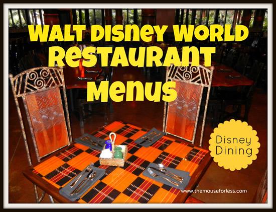 Walt Disney World Menus