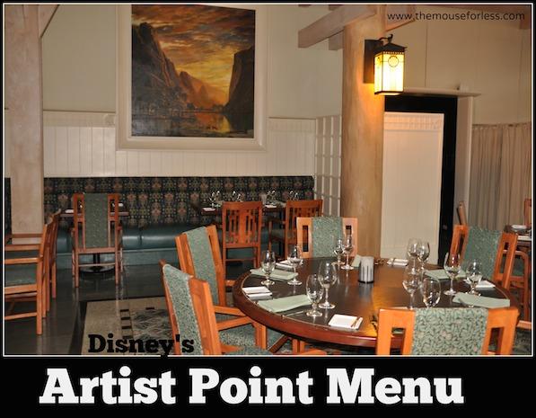 Artist Point Menu at Disney's Wilderness Lodge #DisneyDining #WildernessLodge