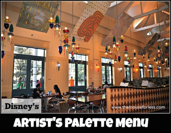 Artist's Palette Menu at Saratoga Springs Resort and Spa #DisneyDining #SaratogaSpringsResort