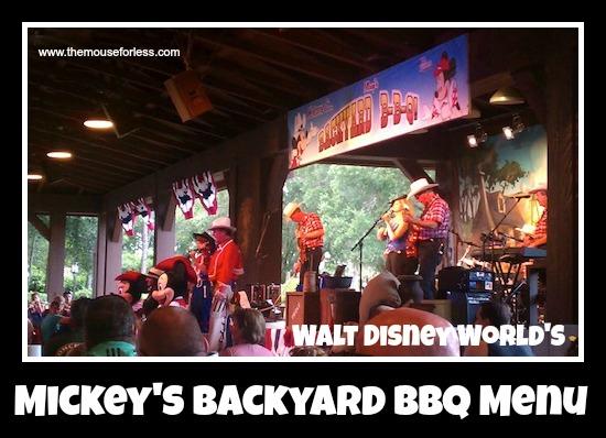 Mickey's Backyard BBQ Menu