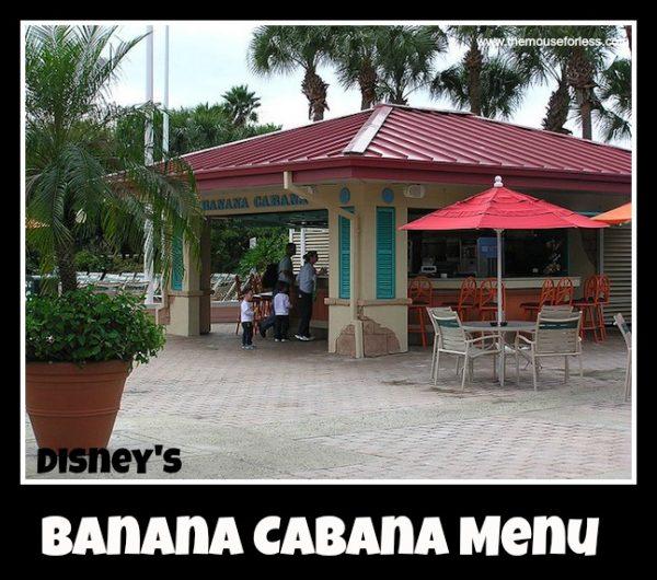 Banana Cabana Menu