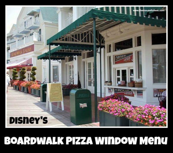 Boardwalk Pizza Window Menu