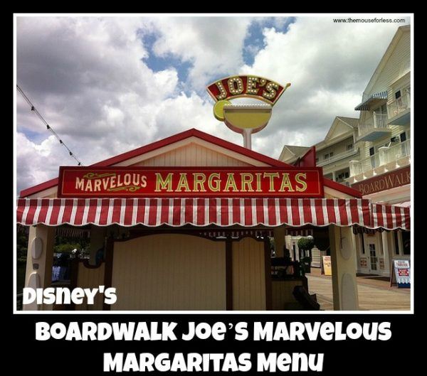 Boardwalk Joe's Marvelous Margaritas Menu