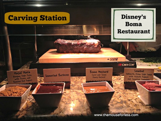 Carving Station at Disney's Boma Restaurant at Disney's Animal Kingdom Lodge #DisneyDining #WaltDisneyWorld