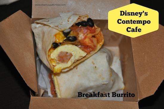 Breakfast burrito from Disney's Contempo Cafe Restaurant at Disney's Contemporary Resort #DisneyDining #WaltDisneyWorld