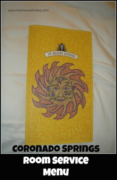 Coronado Springs In Room Dining Menu at Coronado Springs Resort #DisneyDining #CoronadoSprings