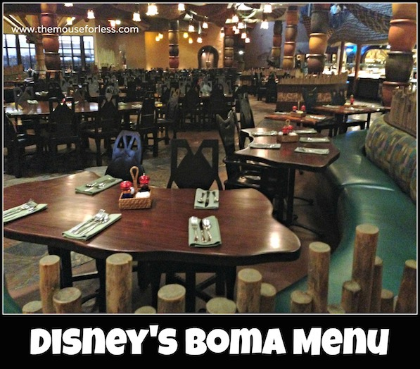 Boma Buffet Menu at Disney's Animal Kingdom Lodge