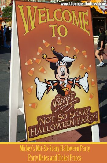 Mickey's Not-So-Scary Halloween Party Dates and Ticket Prices