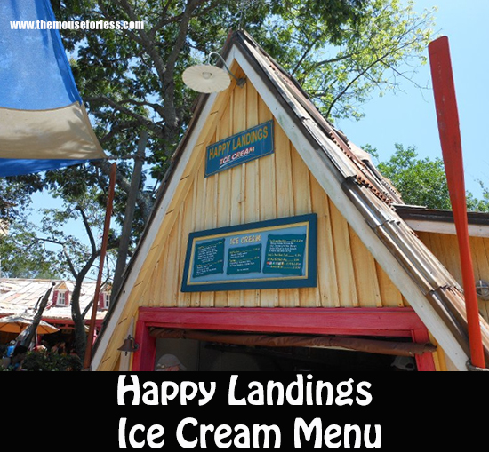 Happy Landings Ice Cream Menu