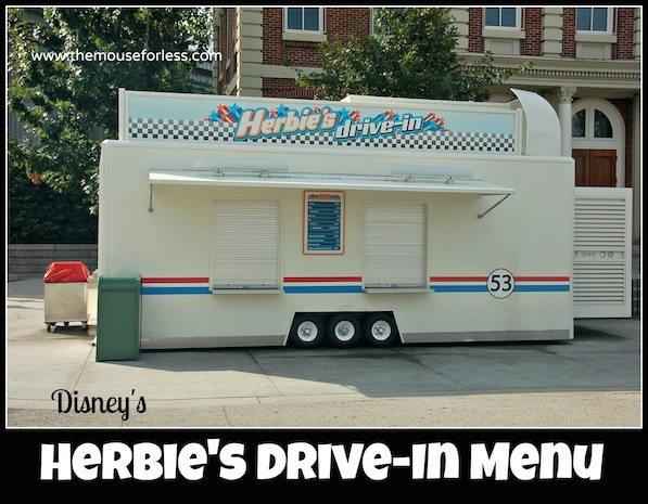 Herbie's Drive-In Stand Menu at Disney's Hollywood Studios #DisneyDining #HollywoodStudios