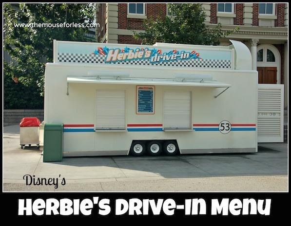 Herbie's Drive-In Stand Menu at Disney's Hollywood Studios #DisneyDining #HollywoodStudios