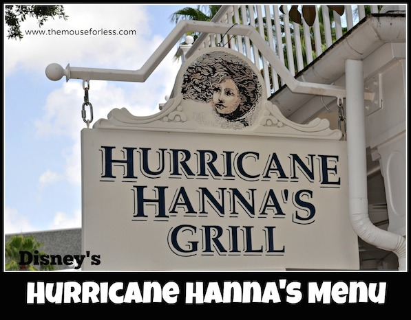 Hurricane Hanna's Waterside Bar & Grill Menu at Disney's Beach Club #DisneyDining #BeachClub