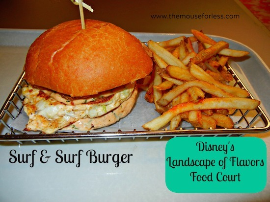 Surf and Surf Burger - Landscape of Flavors Food Court Menu at Disney's Art of Animation Resort #DisneyDining #WDW