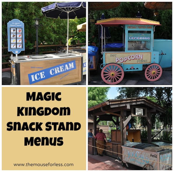 Magic Kingdom Snack Cart Menus at Walt Disney World #DisneyDining #MagicKingdom