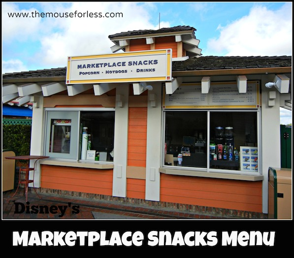 Marketplace Snacks Menu at Disney Springs Marketplace #DisneyDining #DisneySprings