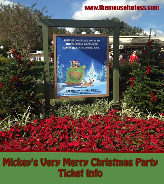 Mickey's Very Merry Christmas Party Ticket Information