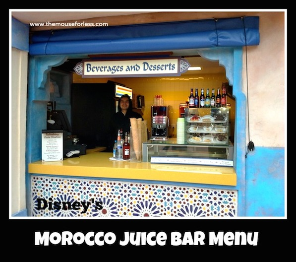 Morocco Juice Bar Menu at the Morocco Pavilion at Epcot's World Showcase #DisneyDining #Epcot