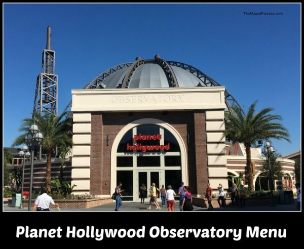 Planet Hollywood Observatory Menu Disney Springs