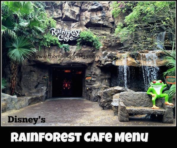 Menu At Rainforest Cafe Animal Kingdom