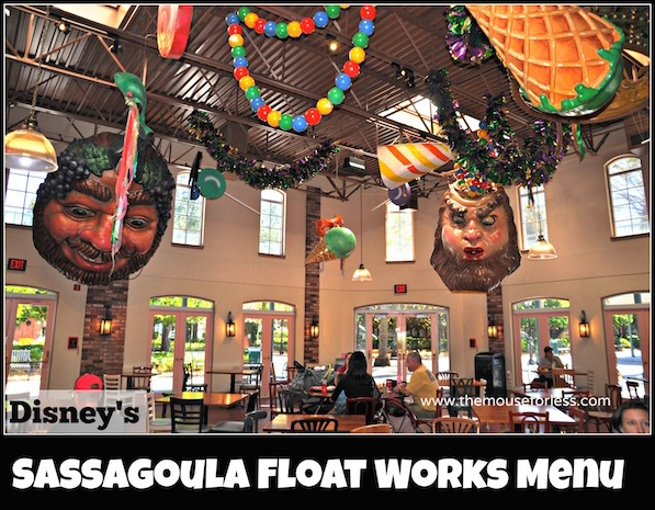 Sassagoula Float Works and Food Factory Menu at Disney's Port Orleans French Quarter #DisneyDinig #PortOrleansResort