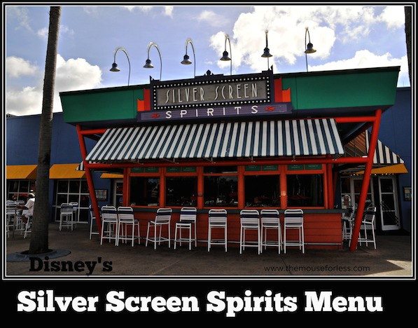 Silver Screen Spirits Pool Bar Menu at Disney's All Star Movies Resort #DisneyDining AllStarMovies