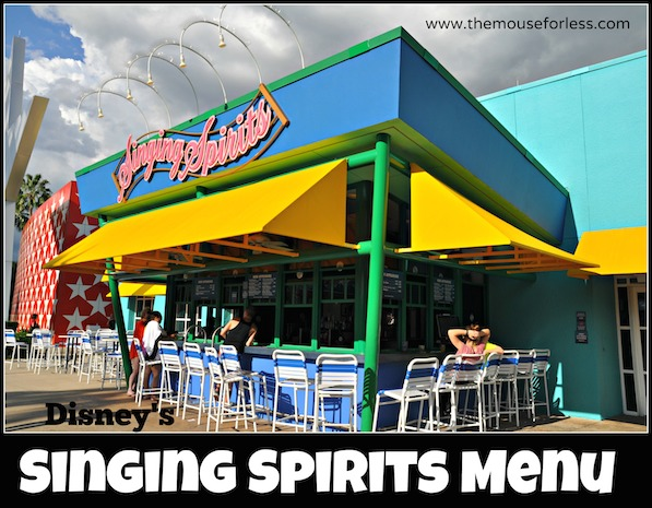 Singing Spirits Pool Bar Menu at Disney's All Star Music Resort #DisneyDining AllStarMusic