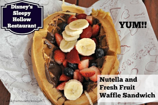 Nutella and Fresh Fruit Waffle Sandwich from Sleepy Hollow at the Magic Kingdom #DisneyDining #MagicKingdom