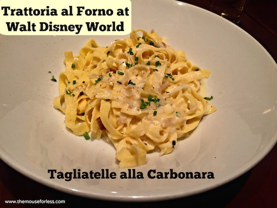 Semolina Tagliatelle alla Carbonara at Trattoria at Disney's BoardWalk Resort & Spa #DisneyDining #BoardwalkResort