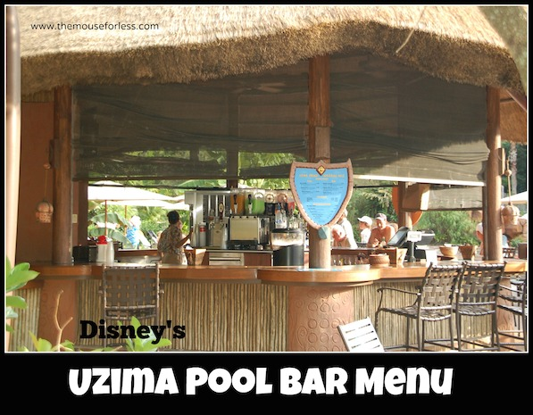 Uzima Springs Pool Bar Menu at Disney's Animal Kingdom Lodge #DisneyDining #AnimalKingdomLodge