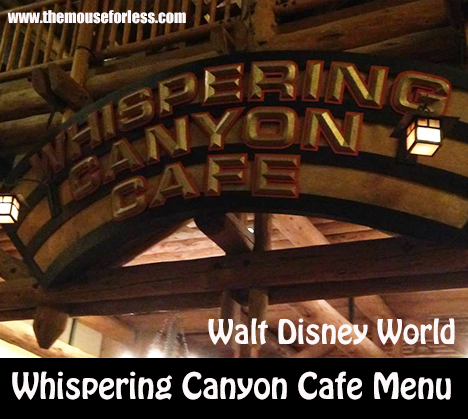 Whispering Canyon Cafe Menu