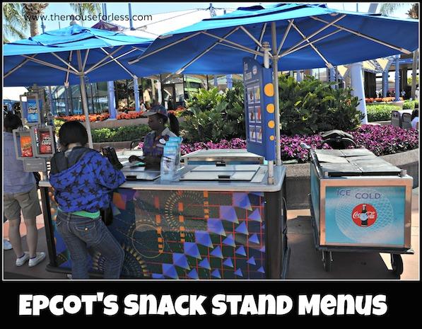 Epcot Snack Carts Menus at Epcot #DisneyDining #Epcot