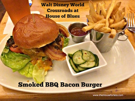 Smoked BBQ Bacon Burger at Crossroads at House of Blues Menu from Disney Springs West Side #DisneyDining #DisneySprings