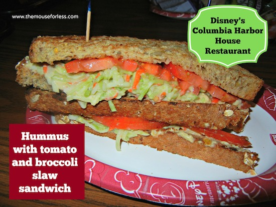 Hummus Sandwich Columbia Harbour House in Disney's Magic Kingdom at Walt Disney World #DisneyDining #WDW