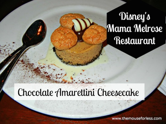 Chocolate Amarettini Cheesecake - Mama Melrose's Ristorante Italiano Menu at Disney's Hollywood Studios #DisneyDining #WDW