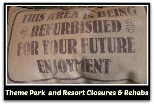 Walt Disney World Theme Park and Resort Closures and Rehabs