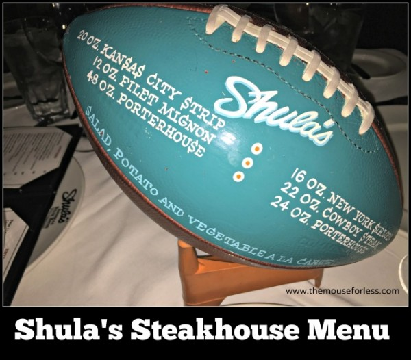 Shula's Steak House menu