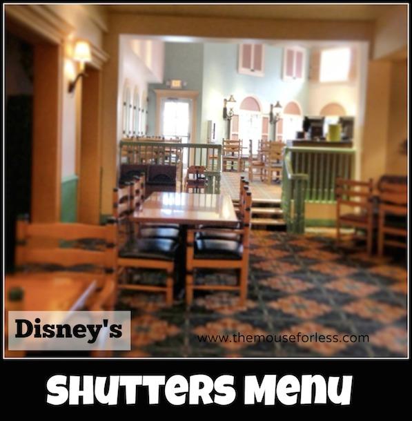 Shutters Menu at Disney's Caribbean Beach Resort #DisneyDining #CaribbeanBeachResort