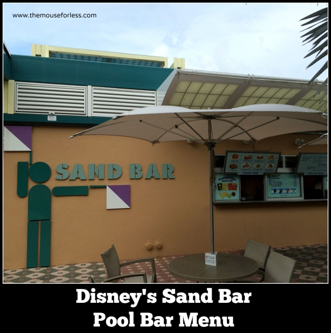 Sand Bar Pool Bar Menu