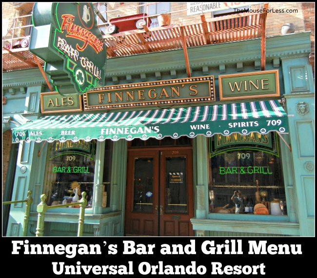 Finnegan's Bar and Grill Menu Universal Studios