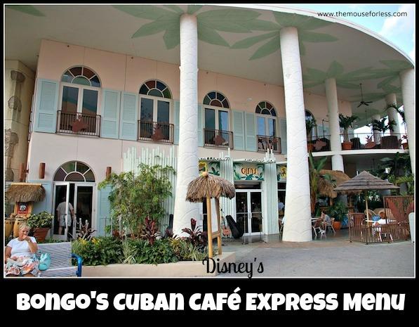 Bongo's Cuban Café Express Menu