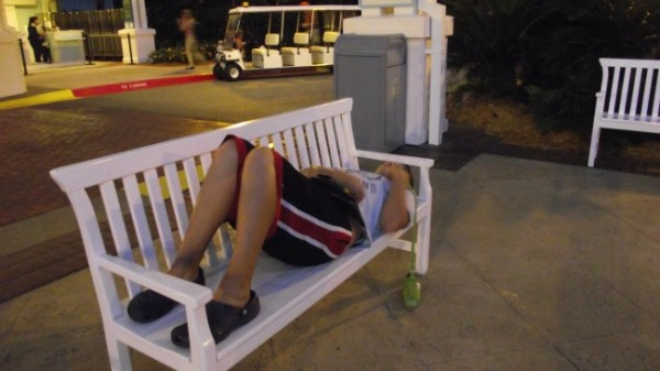 Napping on a bench