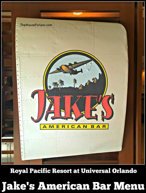 Jake's American Bar Menu Universal Orlando Resort