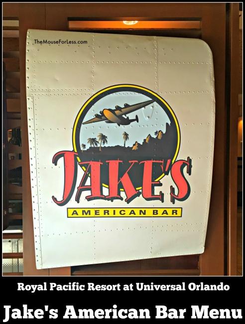 Jake's American Bar Menu Universal Orlando Resort